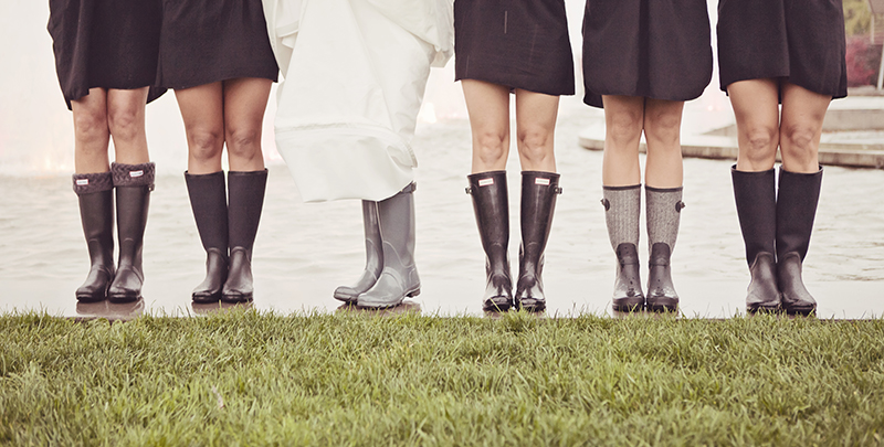 bridal party wearing gumboots