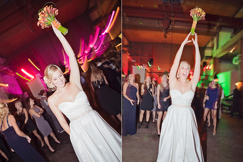 bride throwing bouquet at reception