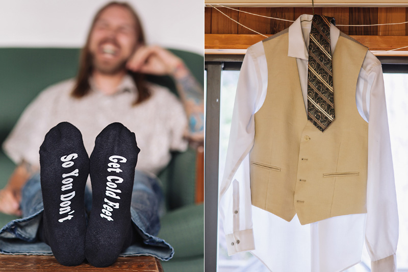 groom with funny socks, dress shirt hanging from house