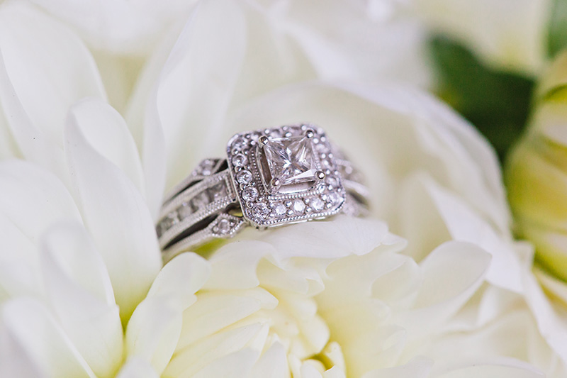 engagement ring in white flower