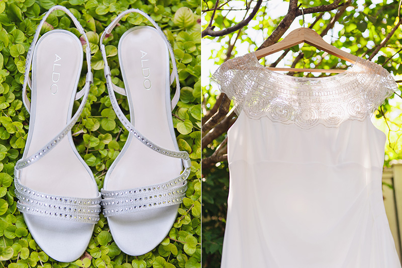 silver wedding shoes, wedding dress hanging in tree