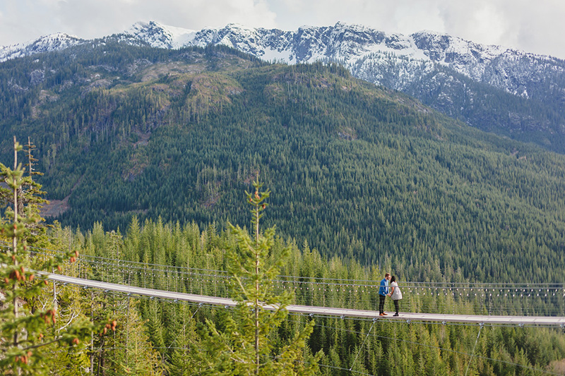 engagement on suspension bridge