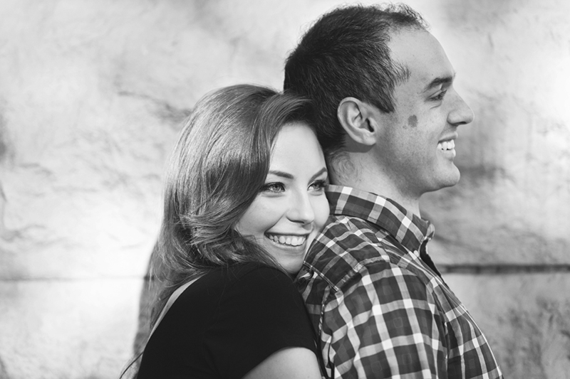 Vancouver portrait photography: black and white engagement portrait