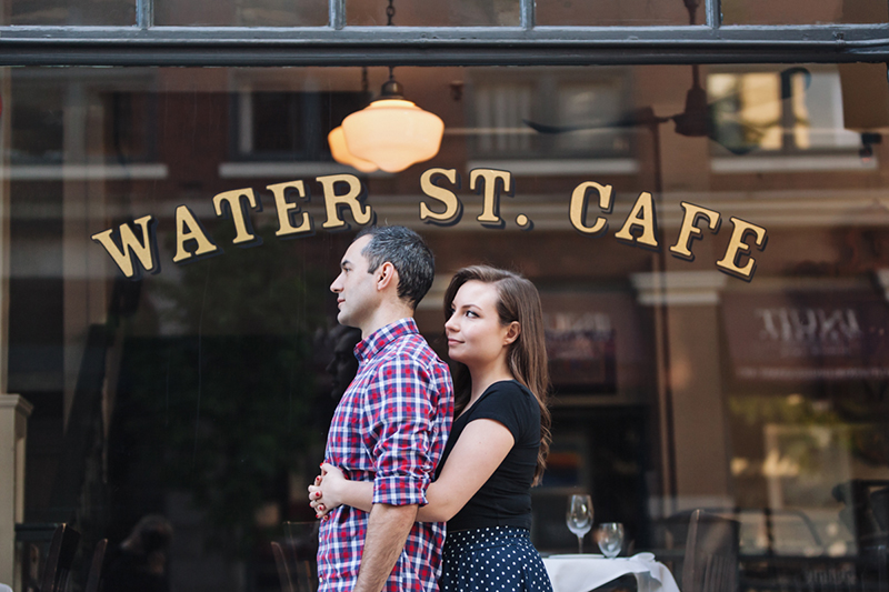 water street cafe engagement photo