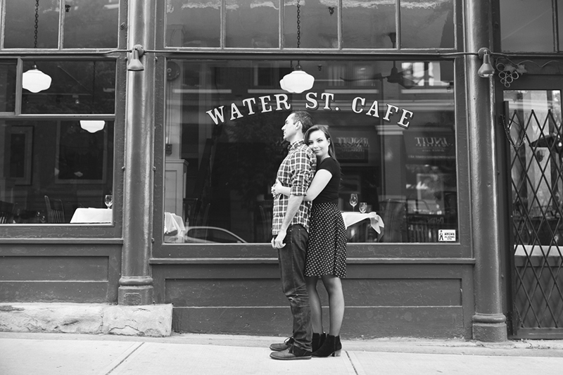 black and white water st cafe engagement