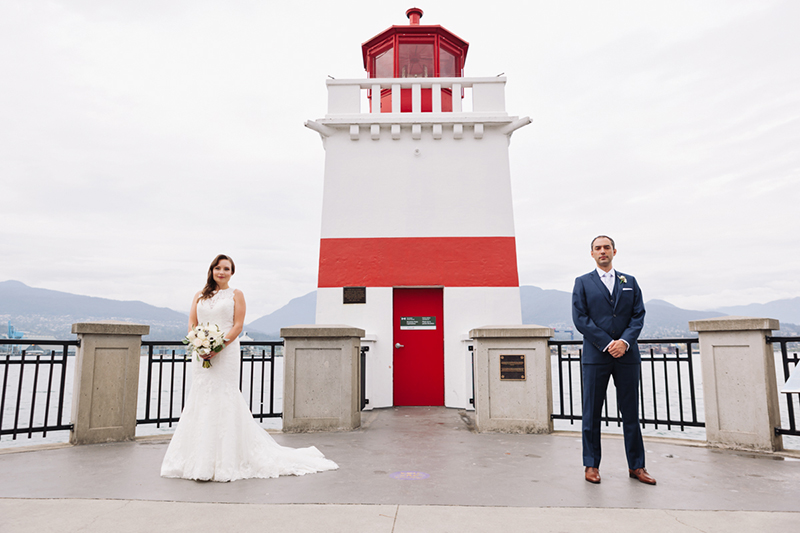 Stanley Park lighthouse, wedding portrait