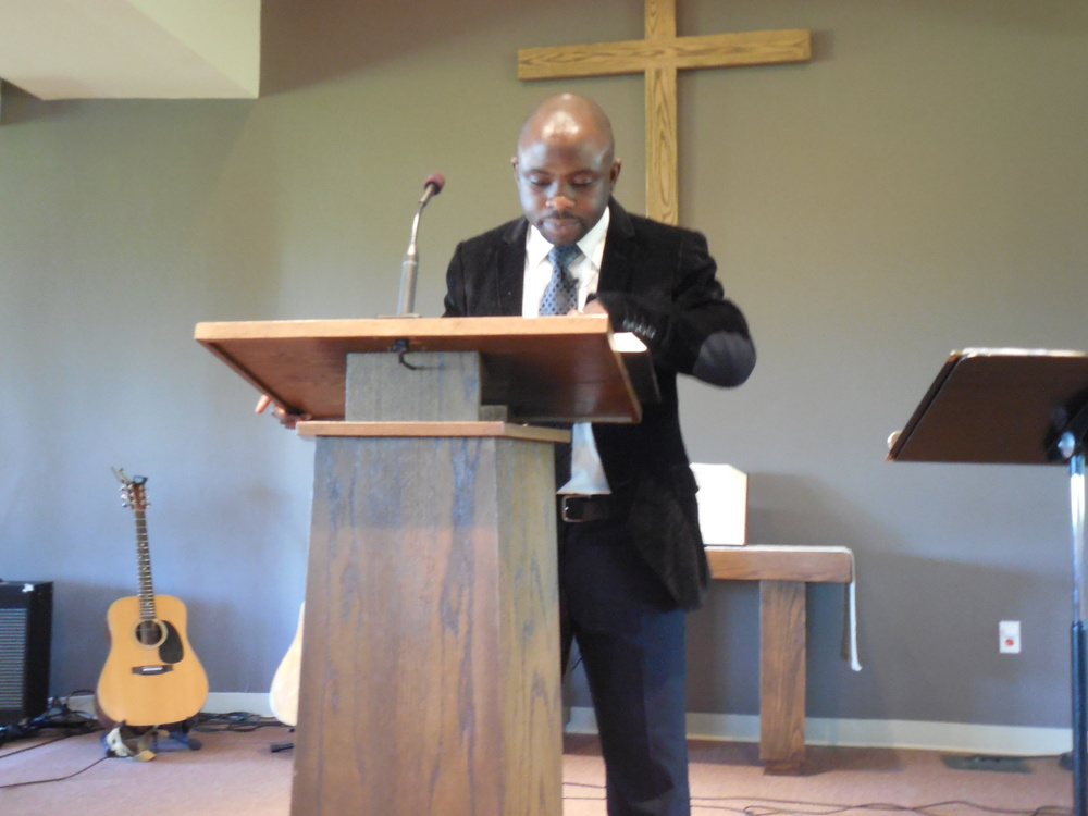 Preaching God's word during a Sunday service at East Parkway Church.