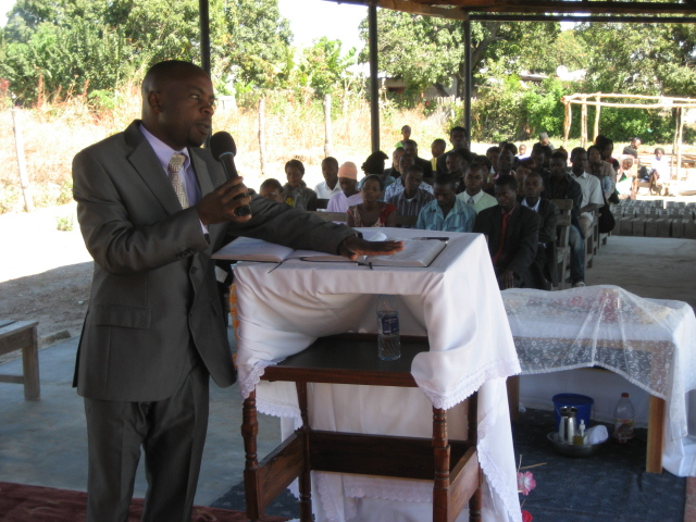 Mulenga delivering a sermon to his congregation at Bread of Life Church Mpatamato in August 2011.