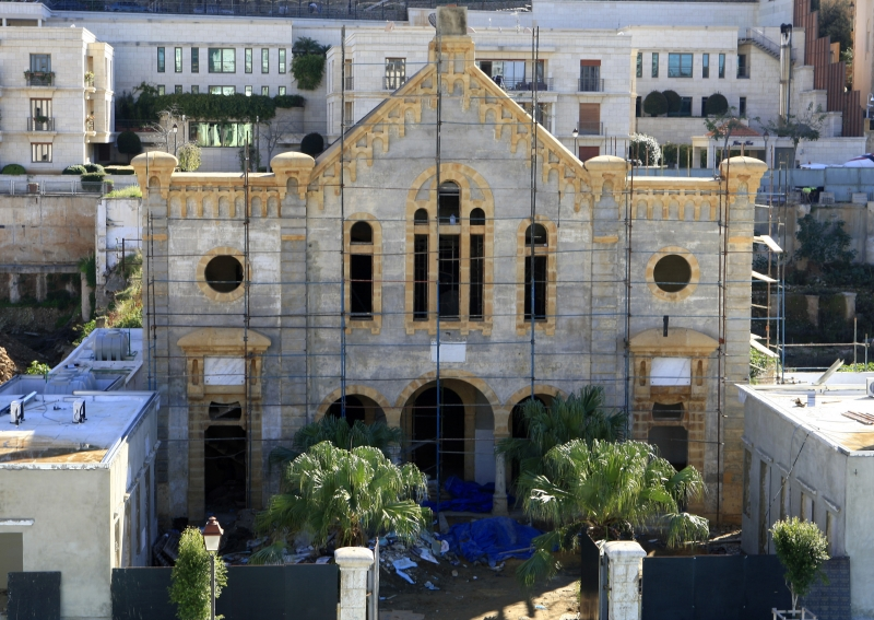 Maghen Abraham, Beirut's oldest synagogue, undergoes restoration in Wadi Abu-Jamil district in downtown Beirut. (Courtesy Reuters)