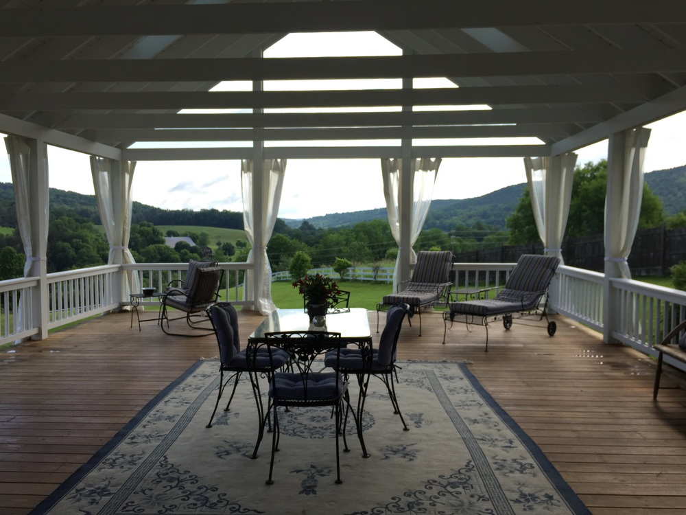 B & B porch view of the Green Mountains