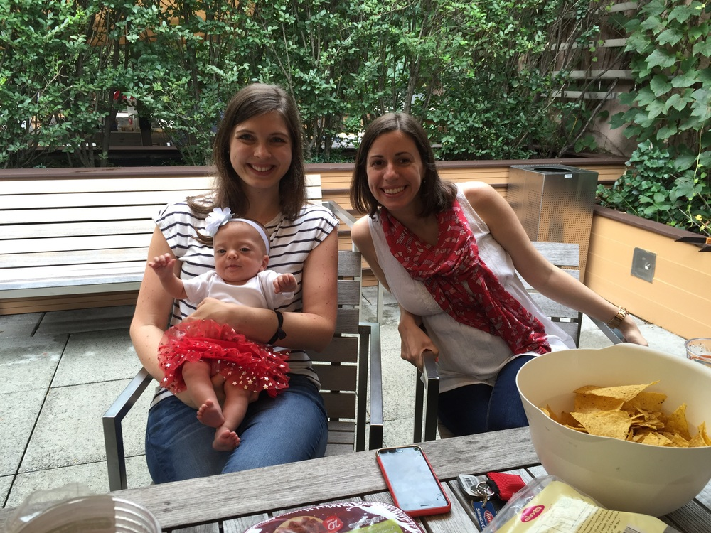 Lucie with Aunt Katie and Aunt Jessa.