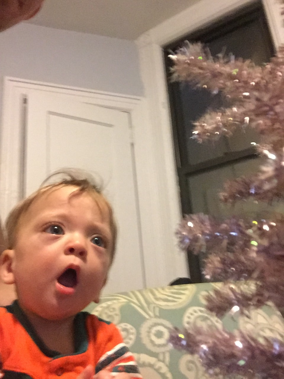 She was in awe of her sparkly tree