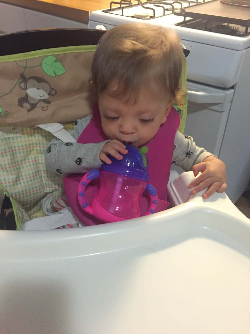 Learning to drink water.