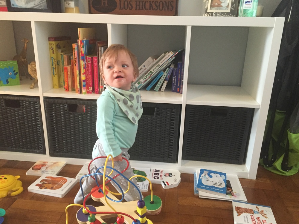 Lucie has the best time taking all her books off the shelves every morning while we eat breakfast.