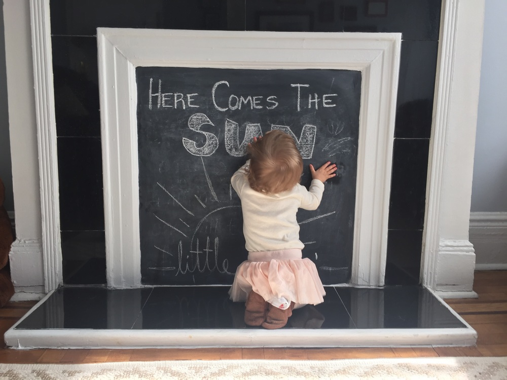 And now, the chalkboard needs a kiss.