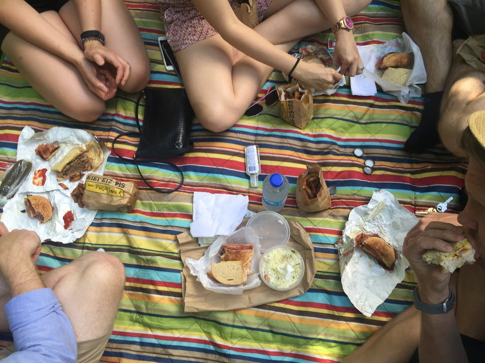 Picnic lunch at Parc Outremont with food from Lester's Deli.
