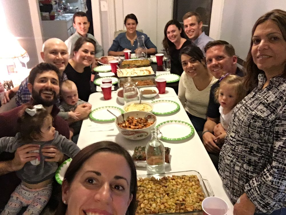 Thanksgiving all around one table in our NYC apartment :)