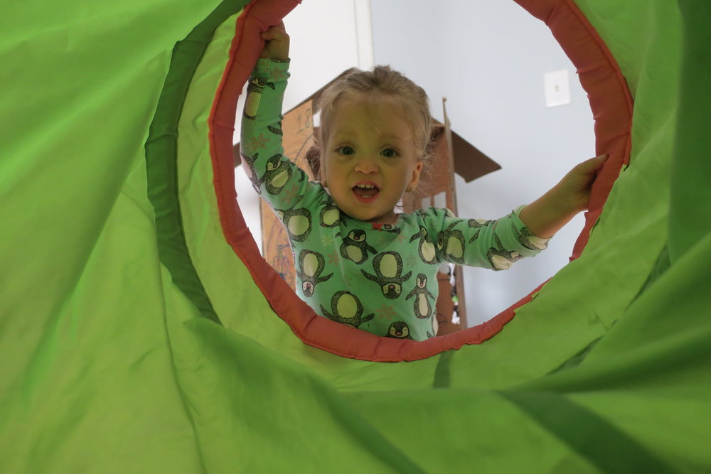 Sick days with Dada... and our tunnel!
