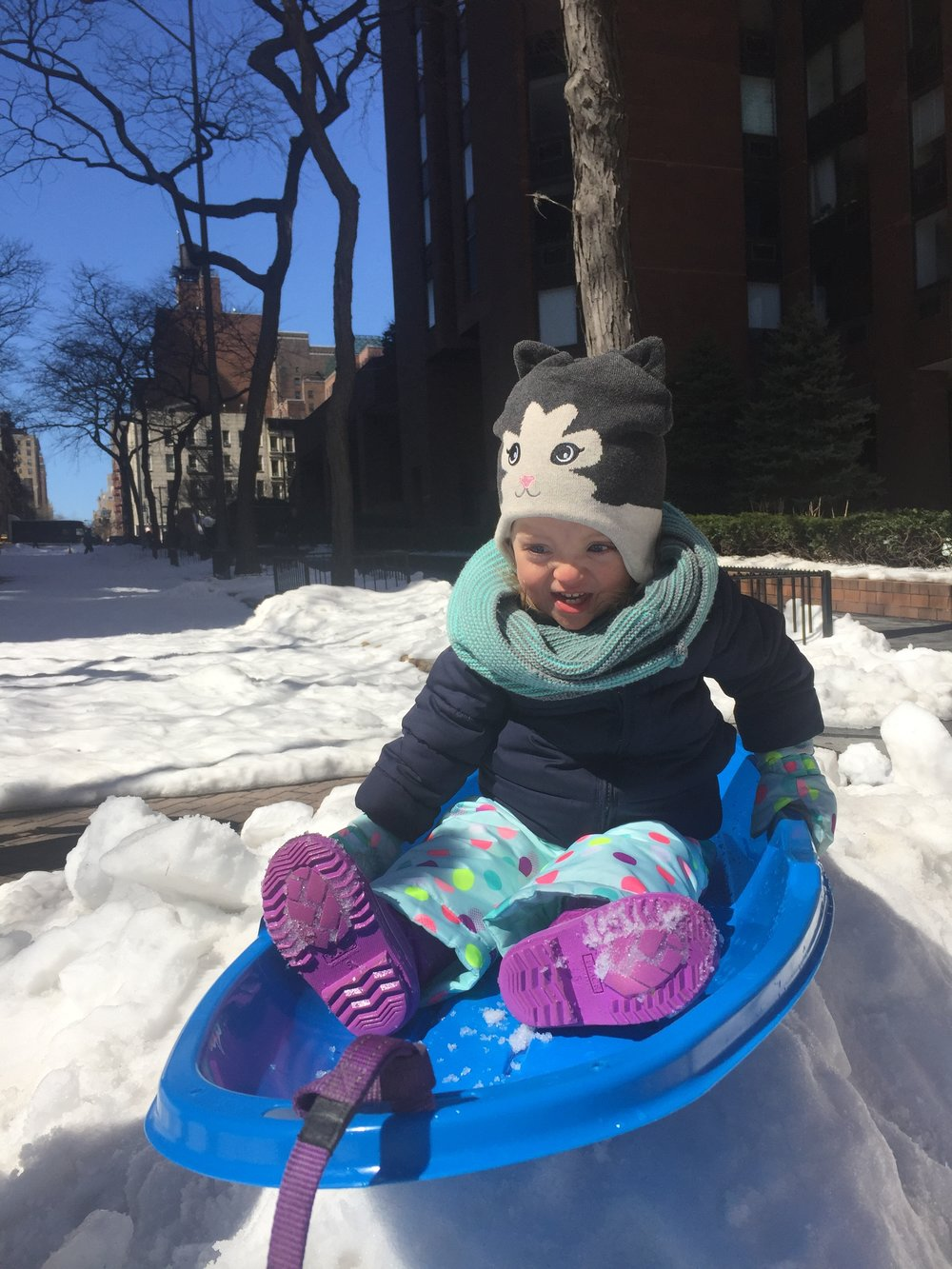 """Third times a charm for our little """"dare devil"""" enjoying sledding... FINALLY! Especially because it means Robby gets to go more :D lol"""