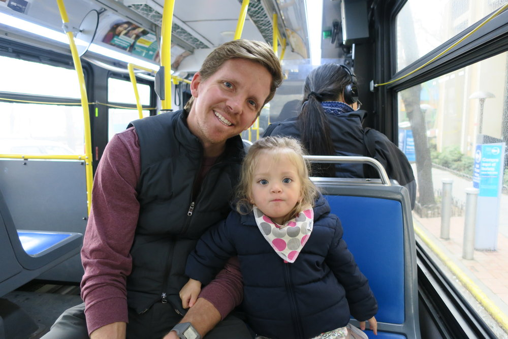 Lucie loves to ride the bus. She gets to pick were to sit as well.