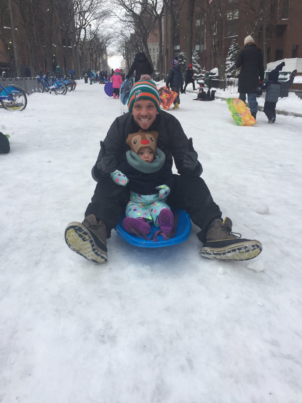 First time sledding -Lucie wasn't too sure about it.