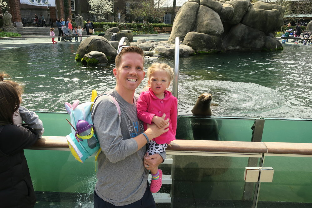 Daddy and Lucie Day of Fun! Even the Sea Lion posed for the picture!