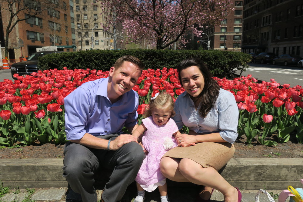 Easter Sunday by the Park Avenue Tulips. The sun was briiiight!