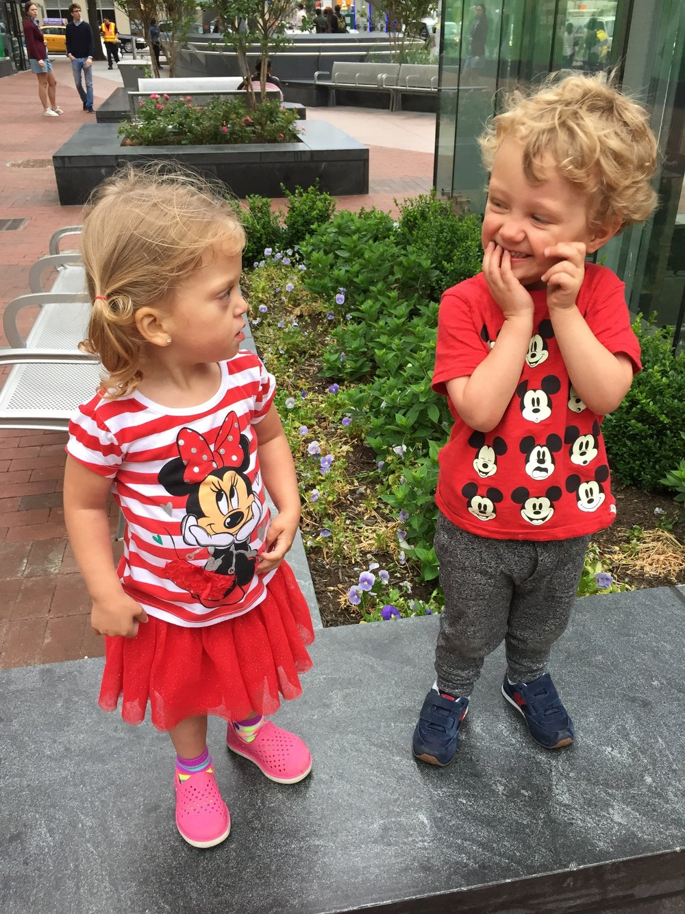 Graham and Lucie matching in Mickey and Minnie.