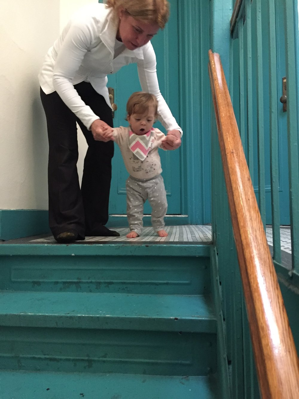 More practice on the stairs.