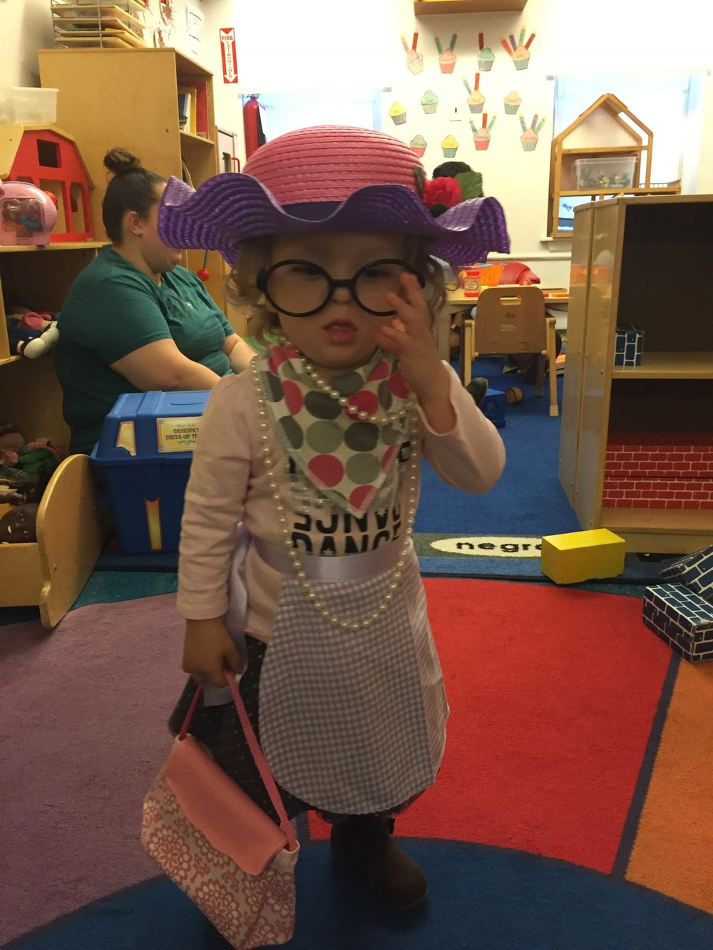 Dress up and imaginitive play at her Day School.