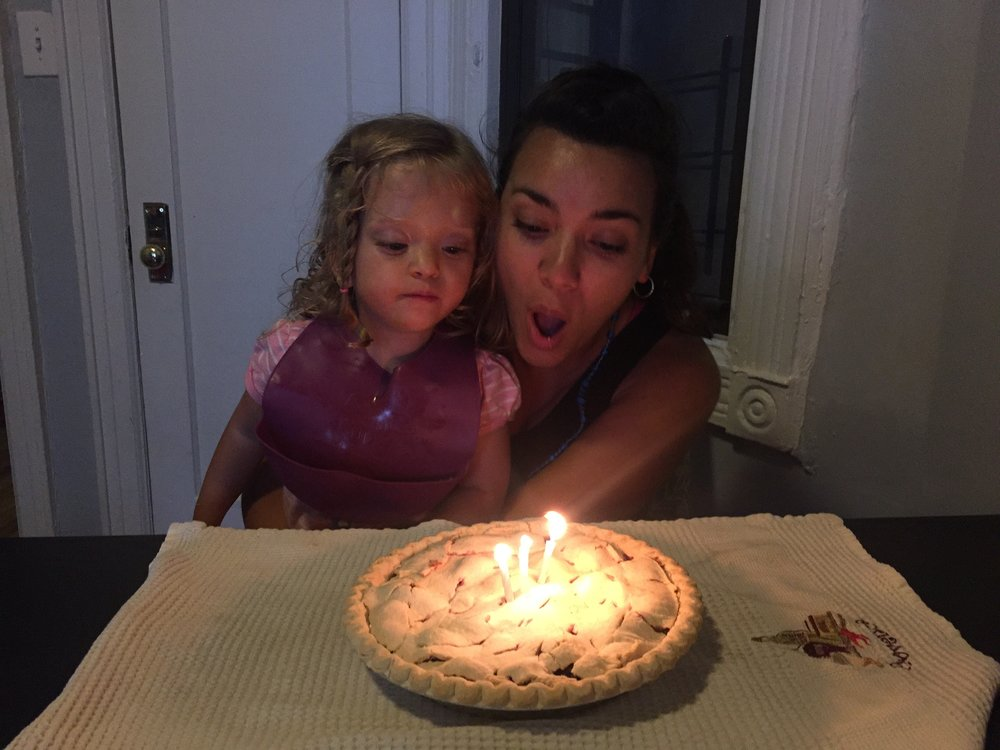 Celebrating with a blackberry pie and homemade vanilla ice cream.