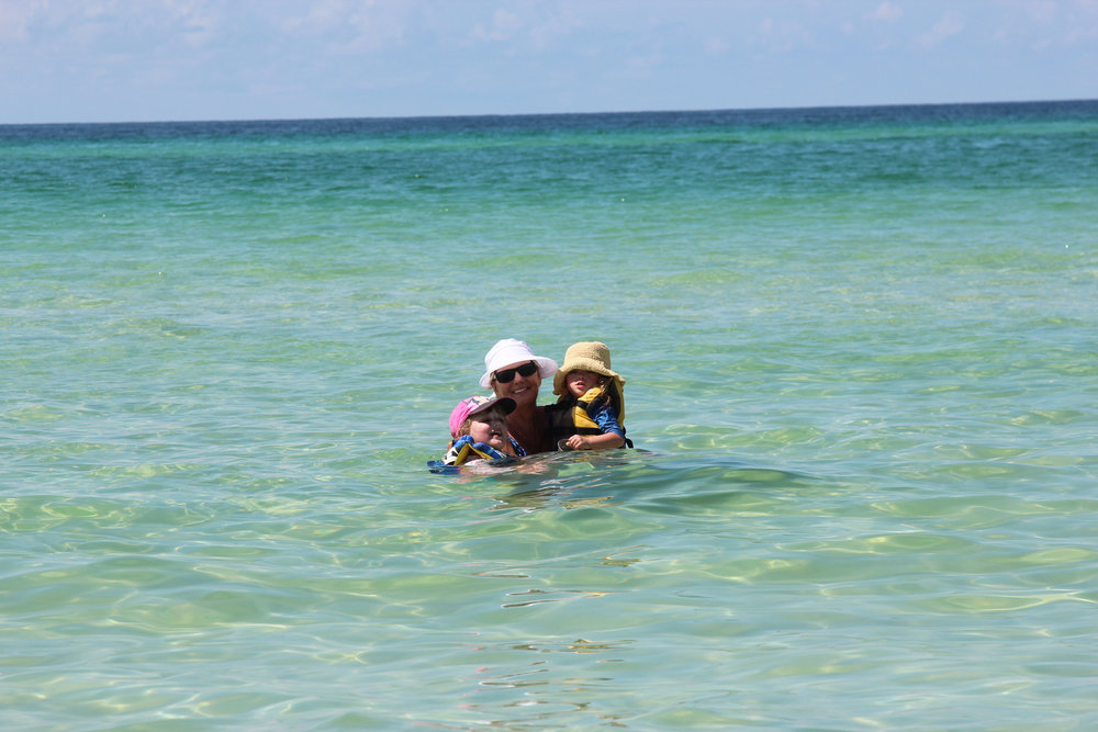 "Lucie and Addi loved to be in the ""Ocean"" with Grandma."