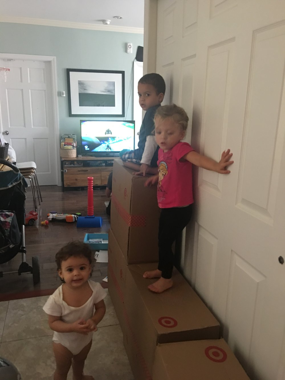 Lucas teaching Lucie and Camila all the crazy cool places to climb.