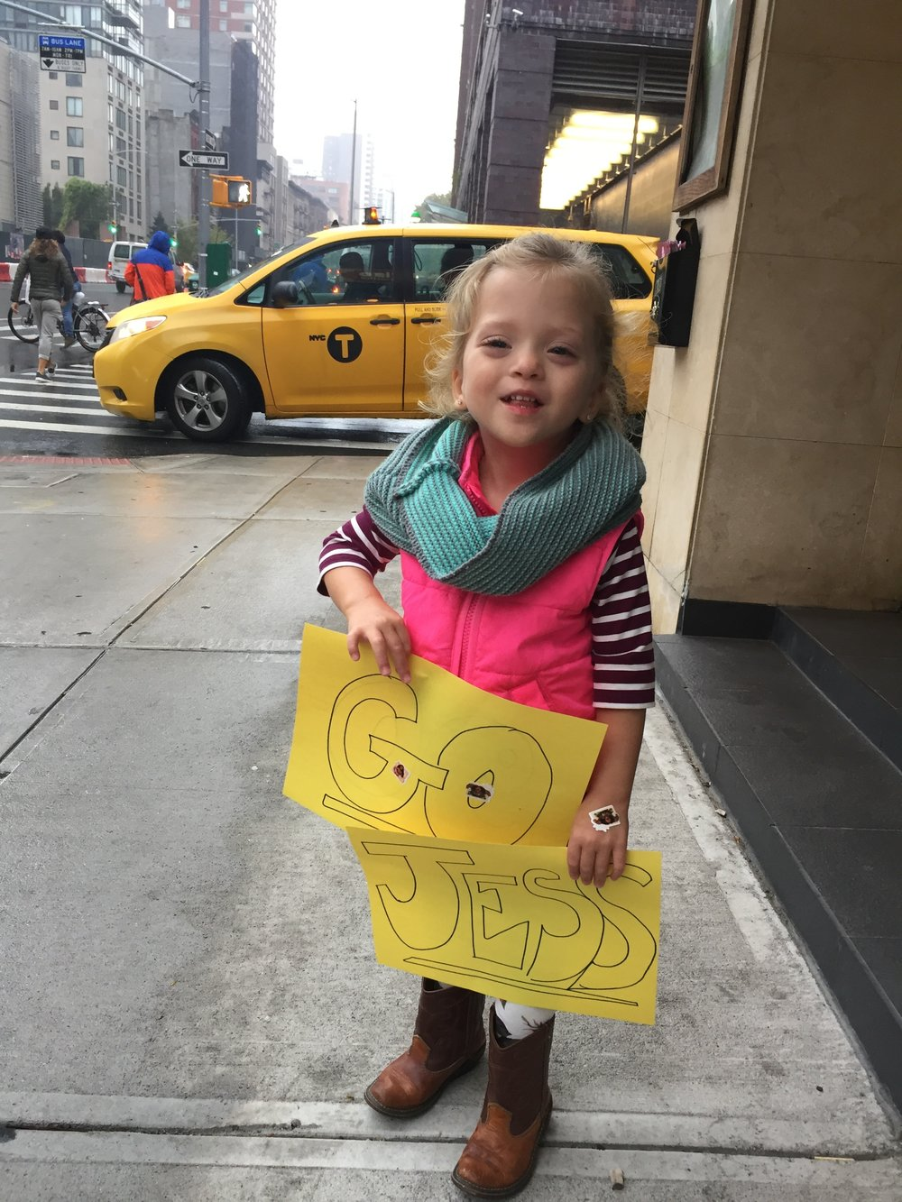 Getting ready to cheer on Lucie's primary nurse from the NICU who ran the NYC Marathon!