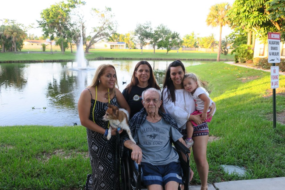 Visiting with Abuela, Titi Eli, Abuelo Raul and Twinkie