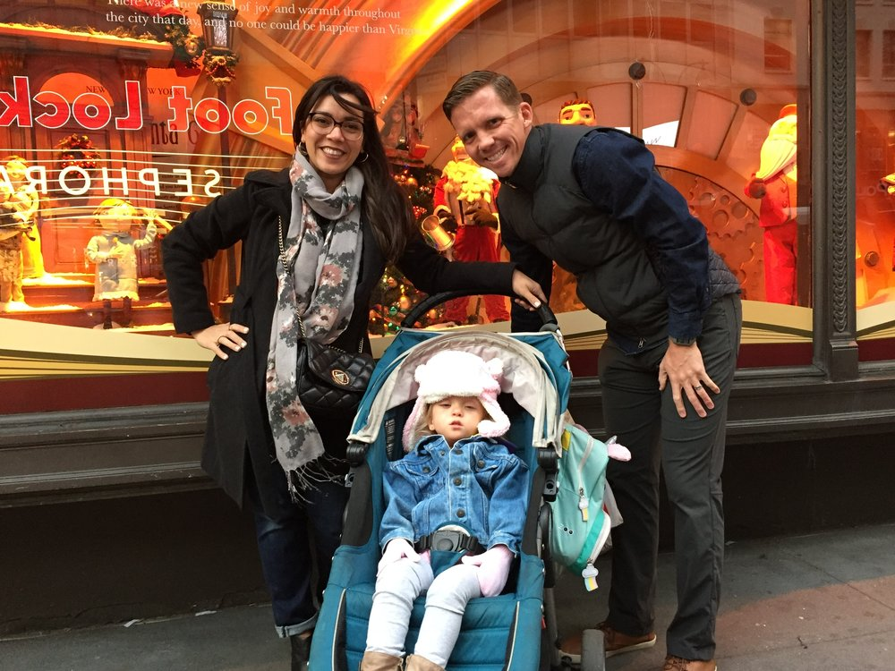 Checking out the window displays at Macy's. Lucie was THRILLED. Can't you tell!?