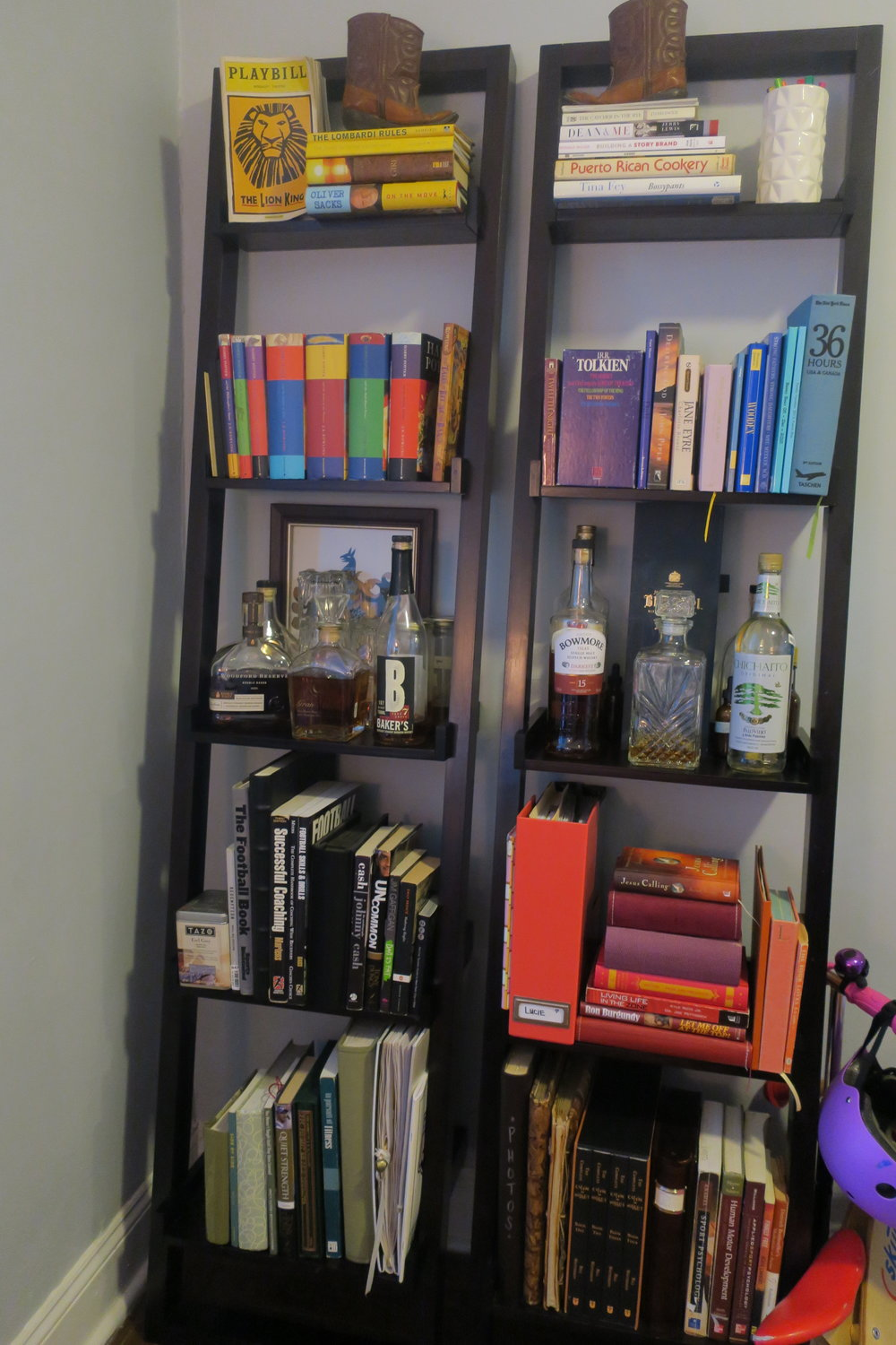 Our COLORFUL bookshelves and the bar. Cheers!