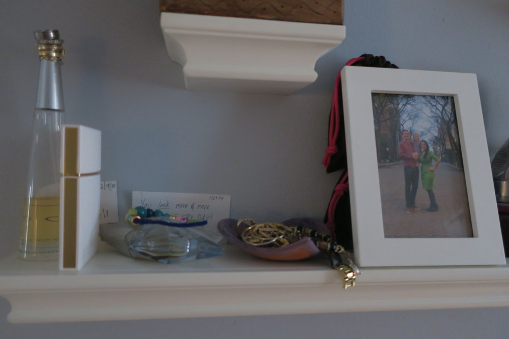When we had Lucie we moved our dresser space to these shelves, so that we could turn the dresser top into a changing table area.