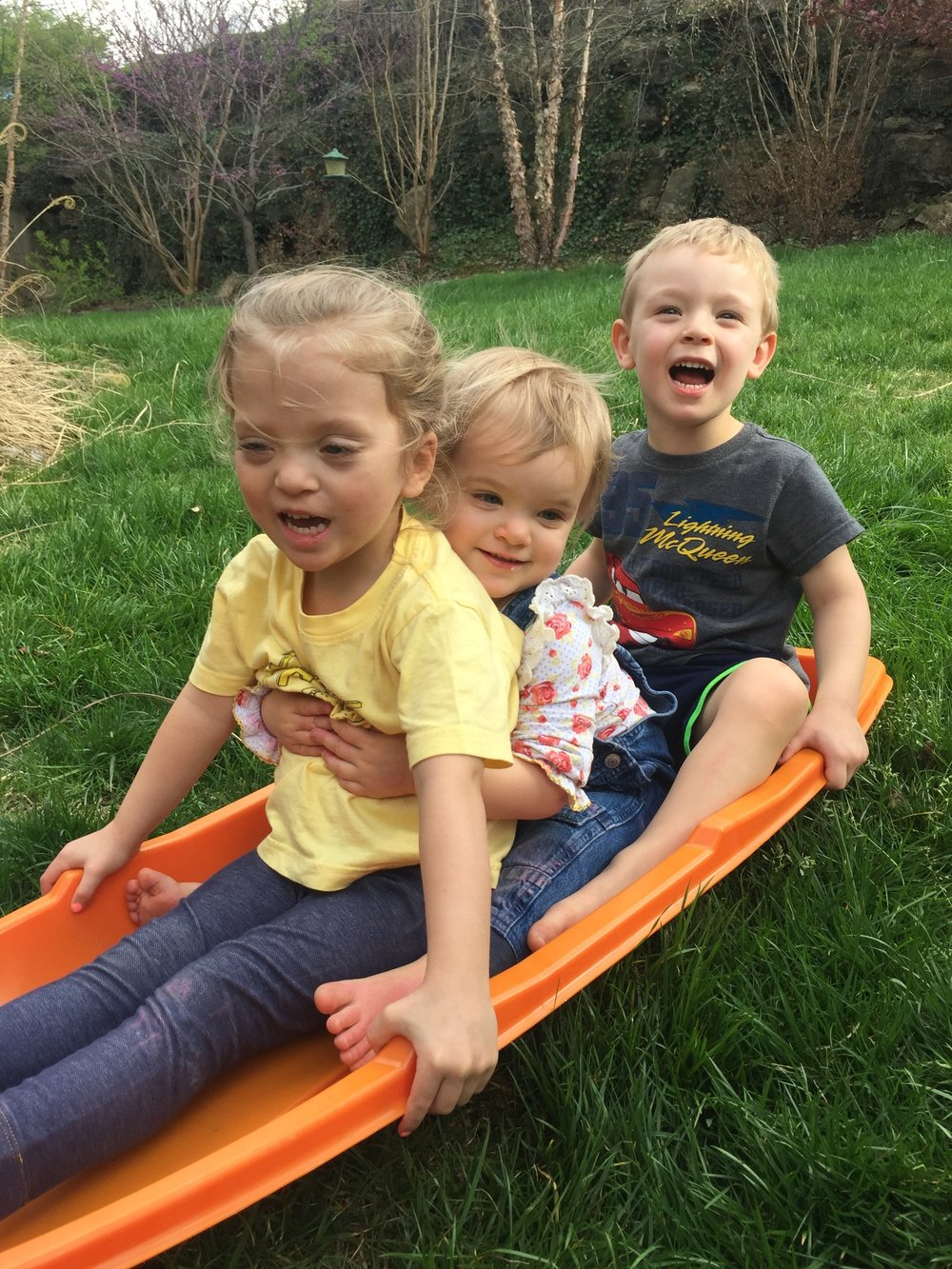 Springtime Sledding with Julie and Luke!
