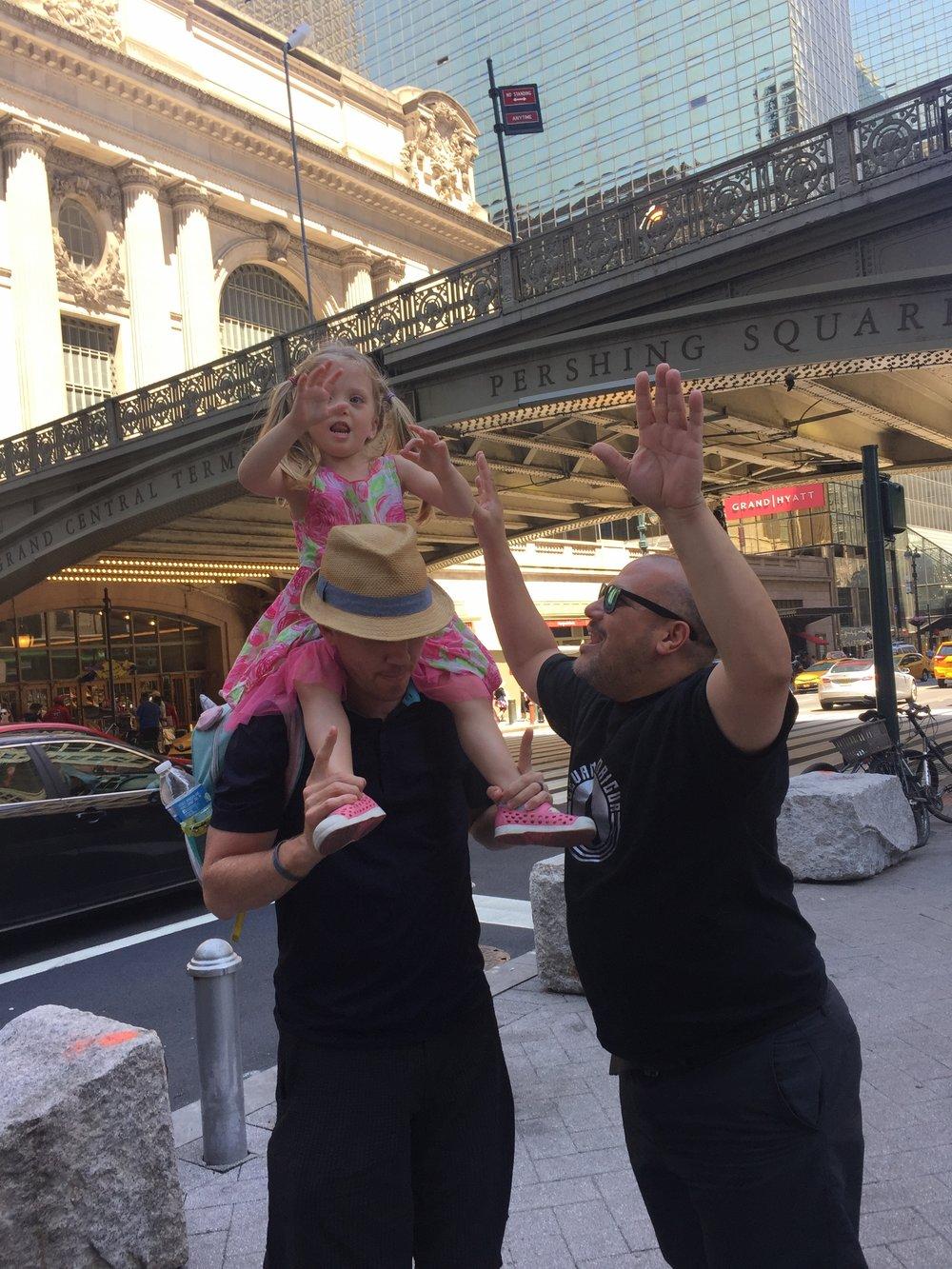 Dancing Salsa in Midtown. Because, obvi.  Lucie loves singing Marc Anthony's song,  Vivir mi Vida . La-la-la-la-la!