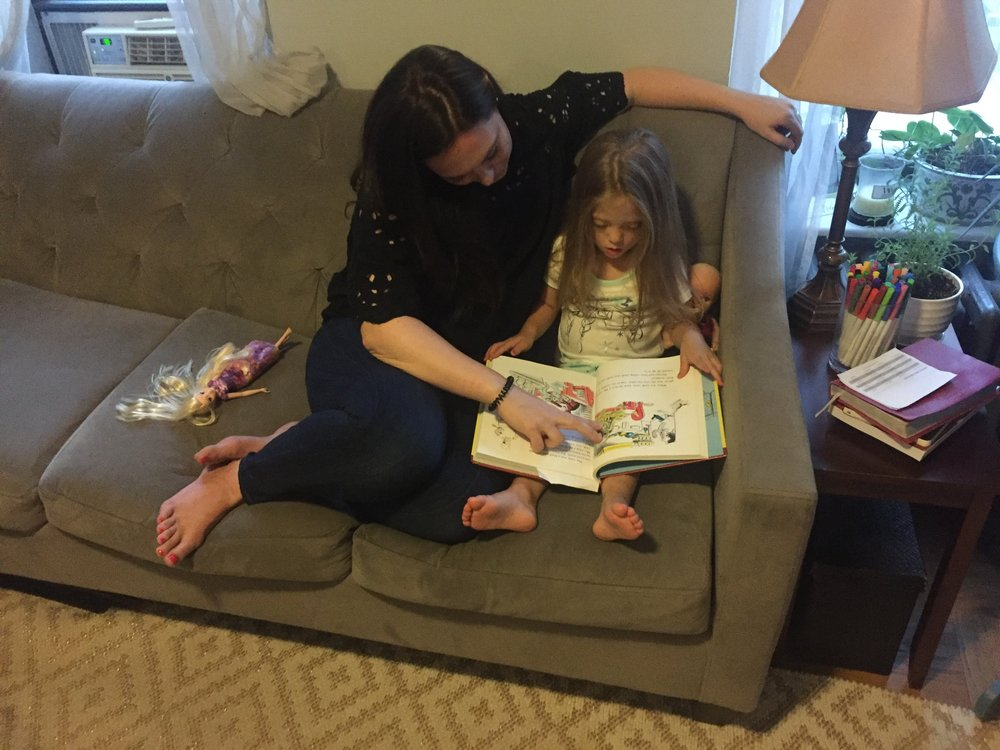 Aunt Erin (Ah-Ah) stayed with us one night for a sleepover, and read Curious George for Lucie before bedtime. It was so fun catching up with her, and hearing about how Brett and Hudson are settling in to their new home in Michigan.