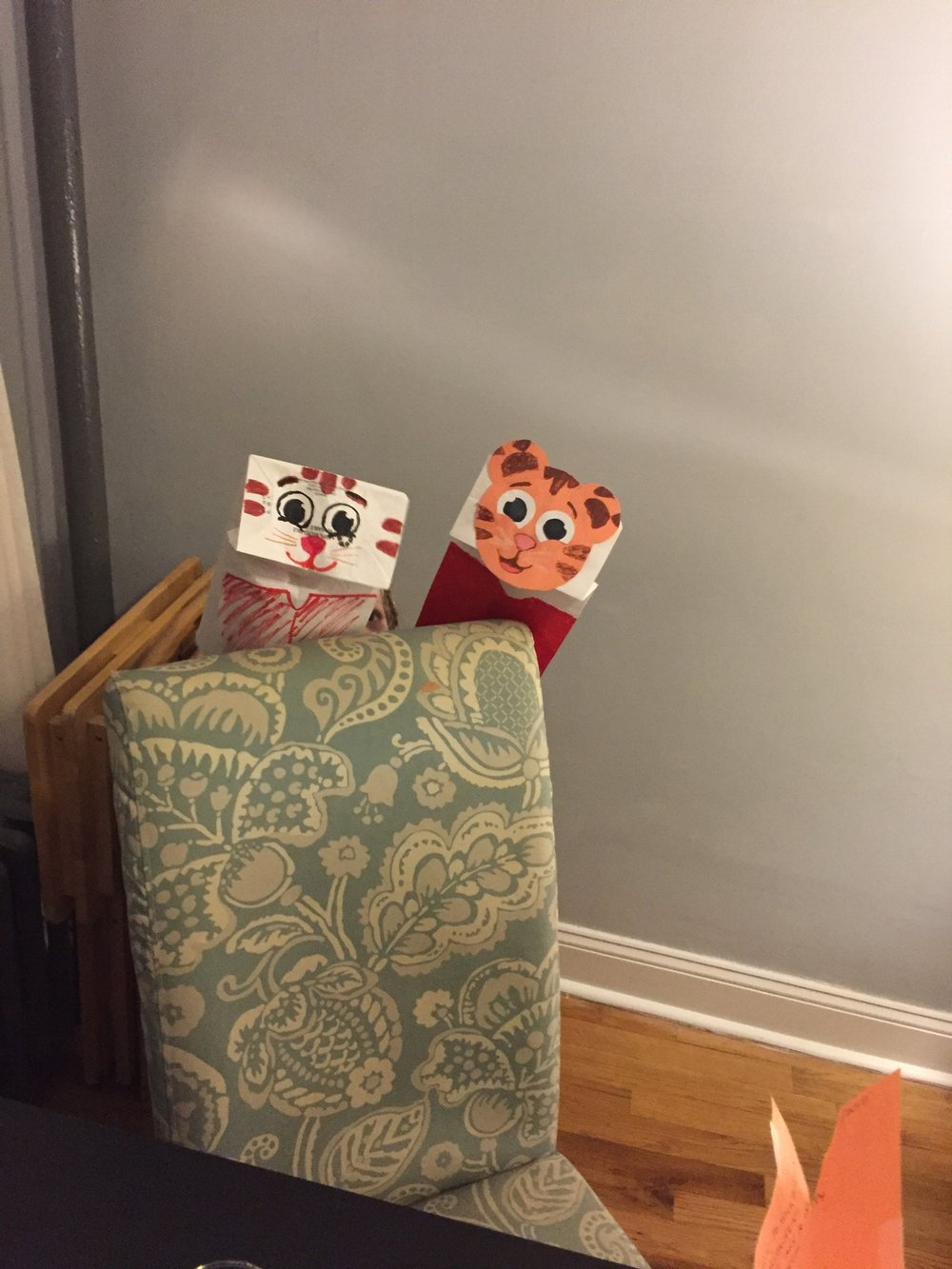 Rob made Daniel Tiger puppets on one of Lucie's sick days.