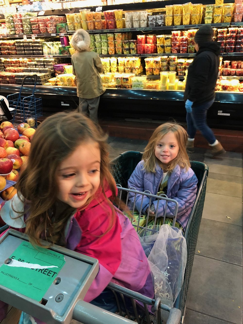 Earlier that day they had adventures at the grocery store, so fun!