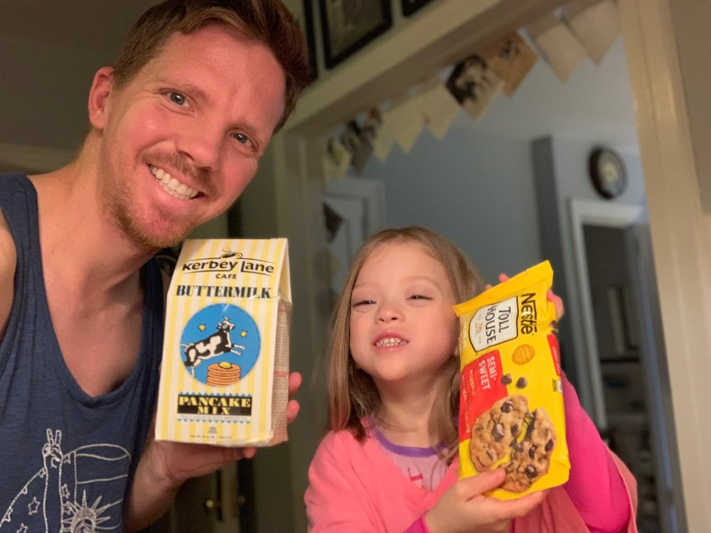 Making chocolate chip pancakes with Daddy!