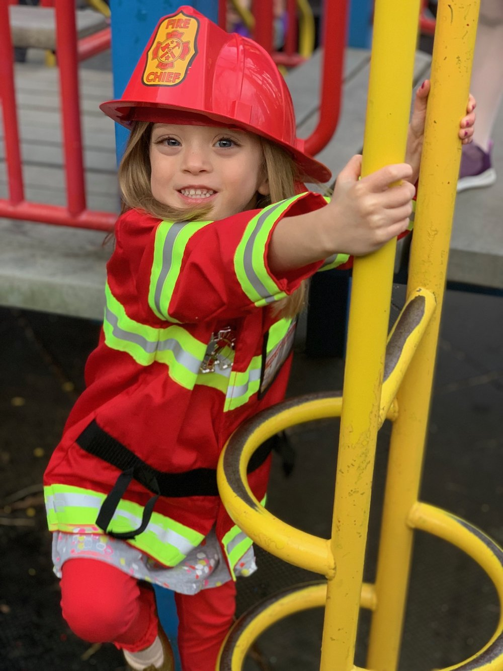 Lucie had a day off from school for Chinese Lunar New Year, and the weather was gorgeous, so of course that meant pretending to be a Fire Chief at the playground.