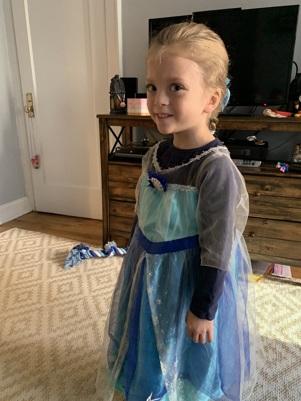 Elsa ready to go visit her little sister