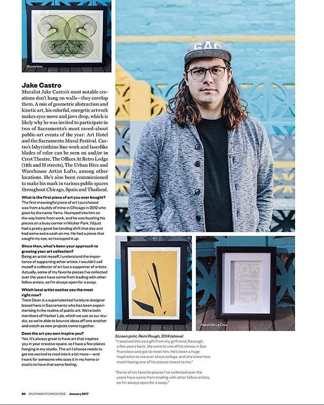 The January issue of @Sacmag is a fun one for us. Such a great read and background on one of Sacramento's most talented artists. Thank you for the creative vision and for making our offices every bit as unique and special as they are. 🙏🙏🙏 #Repost @jakecastro1 ・・・ @sacmag feature in the January issue.🙌🏼 - - - - #jakecastro #streetart #sactown #geometric #sacramento #mural