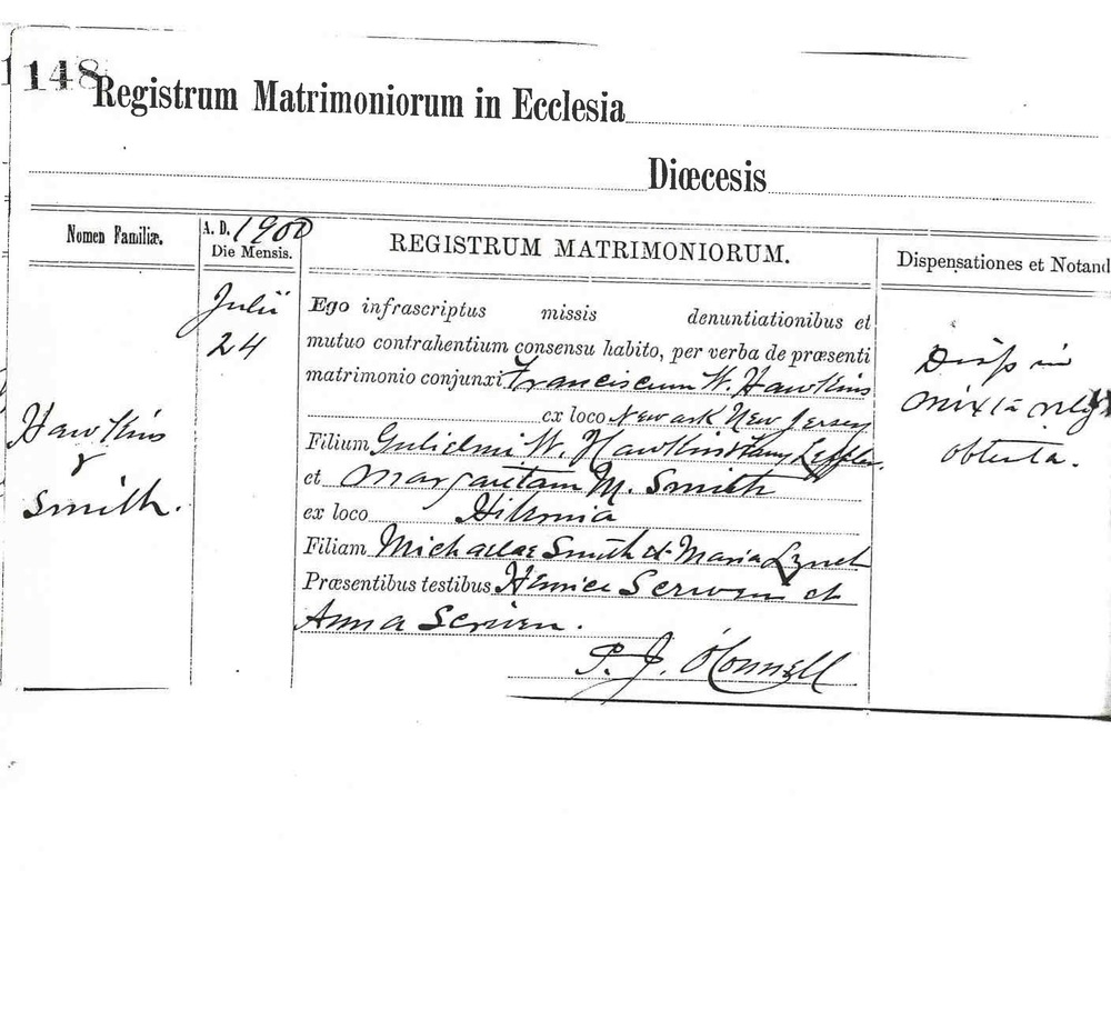 This marriage record from a church in Washington, D.C. is written in Latin, but includes the previously unidentified names of the bride's parents.