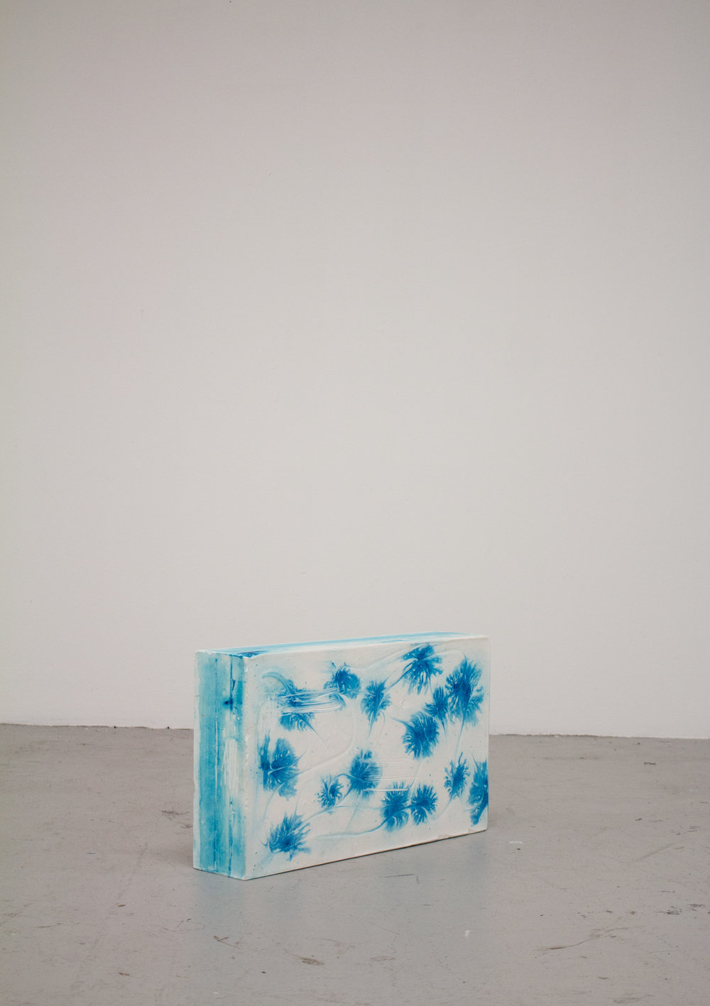Amma,  2015  Plaster, goat's milk, water from the Ganges river, indigo, turquoise dye