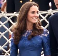 Kate in sapphire dress with lace detail